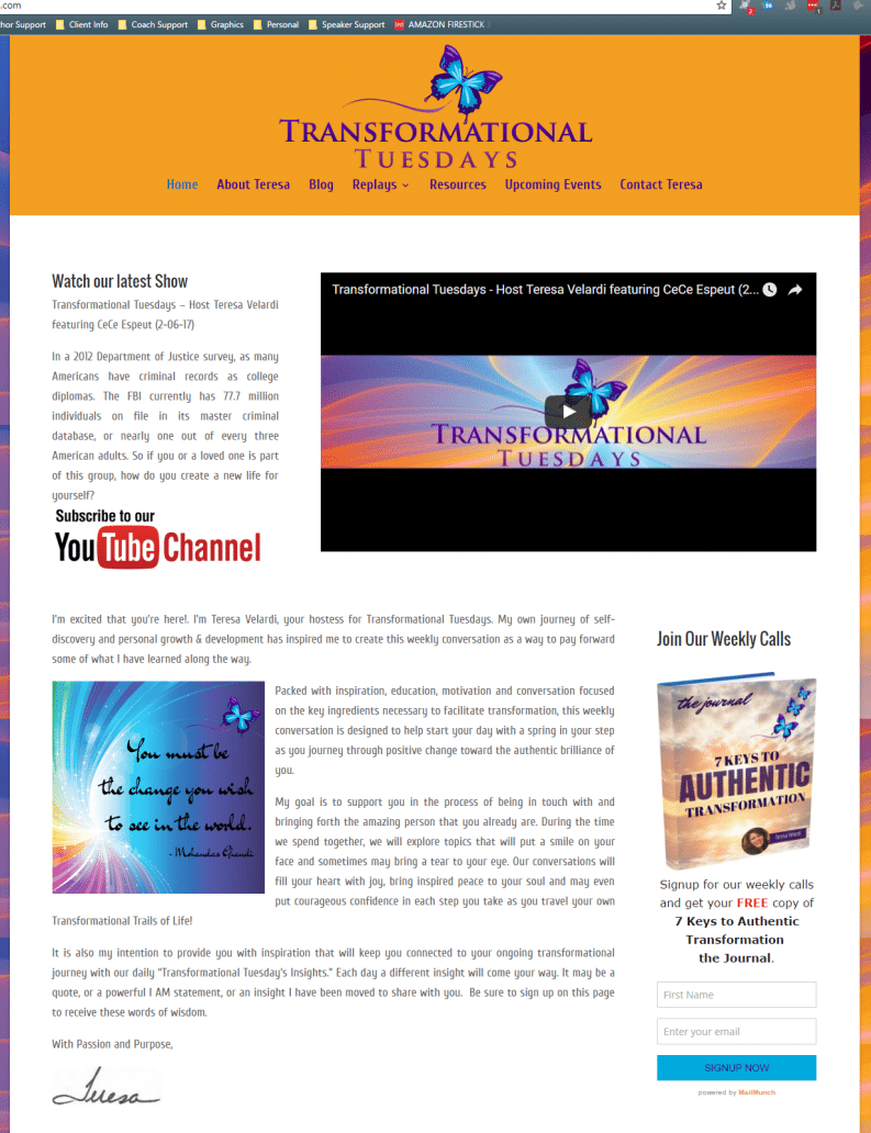 Transformational Tuesdays Website